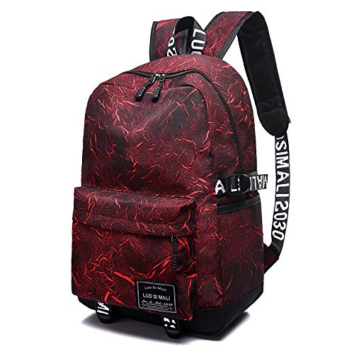 School Backpack SKL Unisex School Bag Canvas Rucksack Laptop Book Bag Satchel Hiking Bag for Boys Girls (Red)