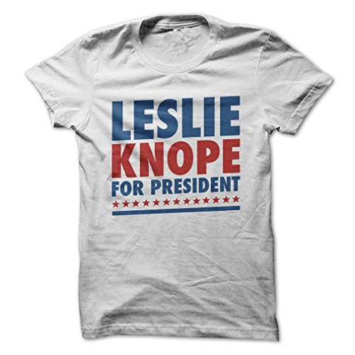 Leslie Knope for President 2016-T-Shirt/White/L - Made On Demand in USA (Christmas Knope Leslie)