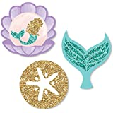 Let's Be Mermaids - DIY Shaped Baby Shower or Birthday Party Cut-Outs - 24 Count