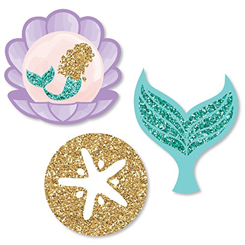 Little Mermaid Cutouts (Big Dot of Happiness Let's Be Mermaids - DIY Shaped Baby Shower or Birthday Party Cut-Outs - 24)