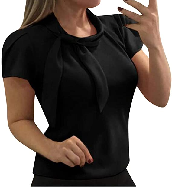Women Bow Chiffon Shirts Minikoad Ladies Elegant Blouse Short Sleeve Solid T-Shirt Office Blouse Tops
