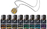 ArtNaturals Aromatherapy Top-8 Essential Oils – (8 x 10ml Bottles) Included Aromatherapy Necklace – 100% Pure – Peppermint, Tee Tree, Lavender, Eucalyptus – Therapeutic Grade