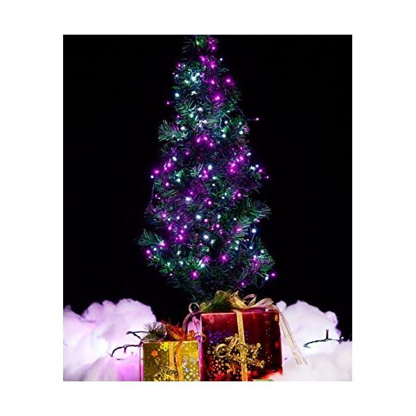 Catena Luminosa WISD Cavo Verde Scuro Stringa Luci Con 8 Modalità, Funzione Di Memoria, Bassa Tensione, Luci Natalizie Bicolori 13M 200 LED Luci Per Casa/Natale/Giardino/Feste (Rosa + Bianco) 5 spesavip