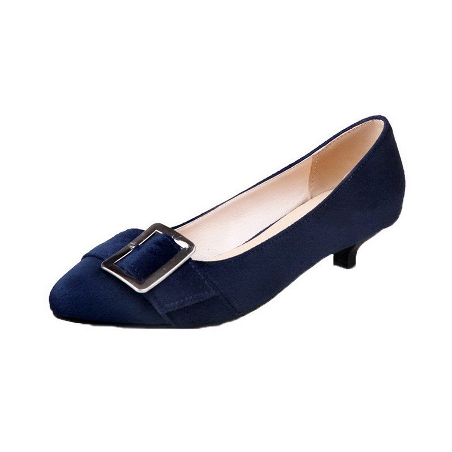 WeenFashion Women's Closed-Toe Frosted Low-Heels Pull-on Solid Pumps-Shoes