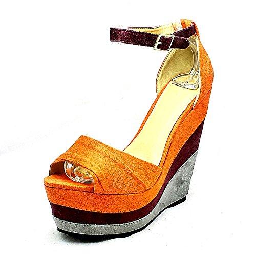 Capas de las señoras zapatos de plataforma de tacón de cuña Naranja