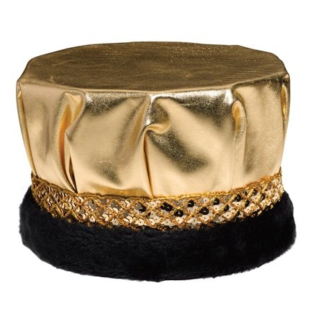 Metallic Gold Crown, Gold Sequin Band, Black Faux Fur, 6 1/2 Inches