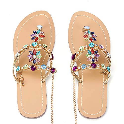 azmodo Women's PU Rhinestones Chains Flat Gladiator Sandals 1625 (Plus (8 M US, Rainbow)