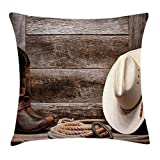 Ambesonne Western Throw Pillow Cushion Cover, Authentic American Rodeo Items Lasso Hat Boots Horseshoe Rustic Wooden House, Decorative Square Accent Pillow Case, 20 X 20 Inches, Brown Cream Tan