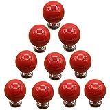 Knobs, WOLFBUSH 10Pcs Cherry Round Ceramic Door Cabinet Knob Drawer Pull  Handle   Red