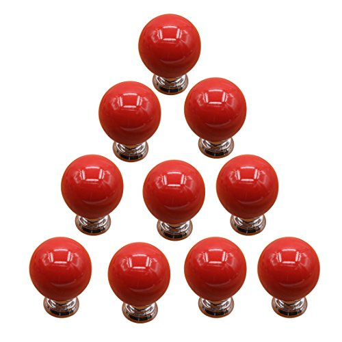 Red Knobs, WOLFBUSH Set of 10 Cherry Round Ceramic Drawer Knobs Door Cabinet Pull Handles