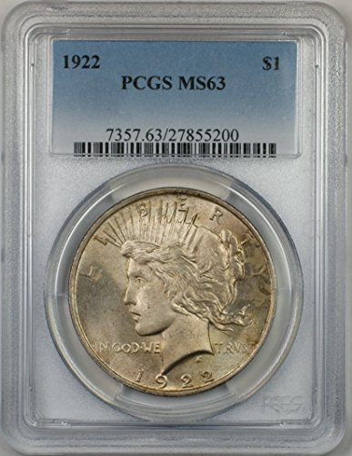 1922 Peace Silver Dollar Coin $1 PCGS MS-63 (1H) Light Toning