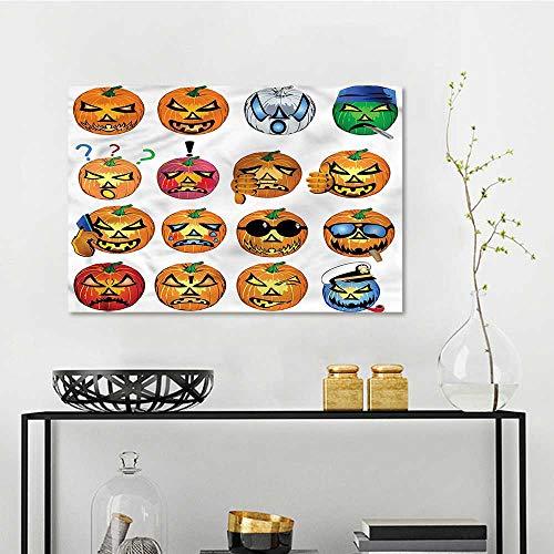 one1love Halloween Pattern Oil Painting Pumpkin Emoji Modern