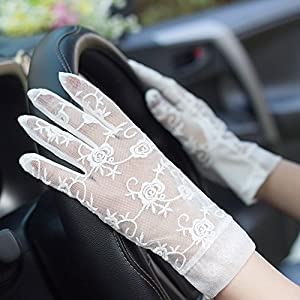HOMEE Gloves - Sunscreen Gloves Lace Hollow Sexy Fashion Drive Non-Slip Breathable Girls Summer Thin Touch Screen,White,Average code
