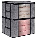 What Bed Is Bigger Than a King Clothes Breathable Blanket Storage Bag for Comforter, Household Home Organizers Tidy Up Your Closets,Shelves, Blankets, Linen Cloth Create Extra Storage with Clear Window, Anti-Mold,Set of 2 Black wit