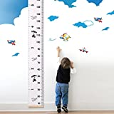 UTOVME Baby Kids Height Growth Chart Hanging Rulers, Wood Frame Canvas Cartoon Cars Printing Growth Ruler Room Wall Decor, 76.4'' x 7.9''