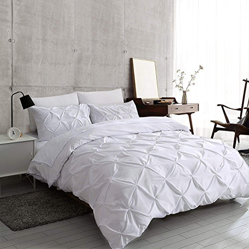Slashome Queen Duvet Cover, 3Pcs Pinch Pleat Luxurious Decorative Softest White Brushed Microfiber Bedding Set with Zipper Closure and Corner...