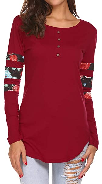 2f1de28acfbb Button Front Top, Fall Tunics for Women to Wear with Leggings Floral Print  Wine Red