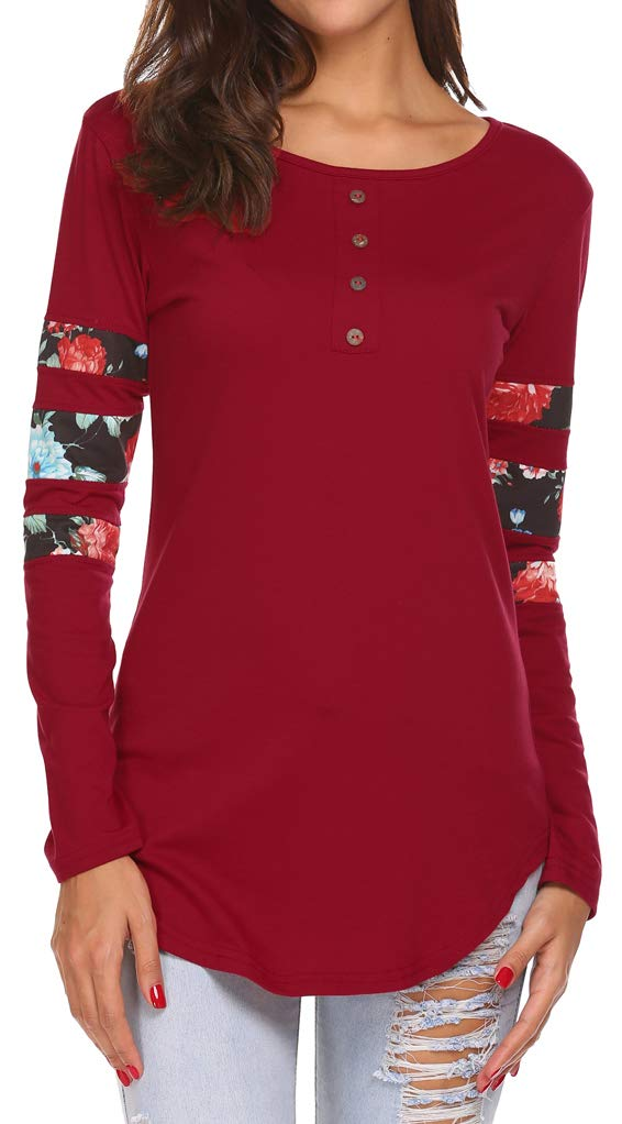 Womens Tops and Blouses Long Sleeve Buttons Front Henley Tunic Shirt Wine Red L