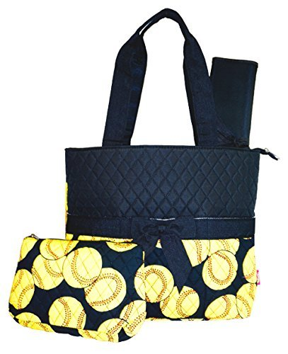 NGIL Softball Print Quilted Diaper Bag