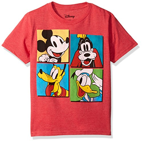 Disney Big Boys' Mickey Mouse, Donald Duck and Goofy T-Shirt, Red Heather, M