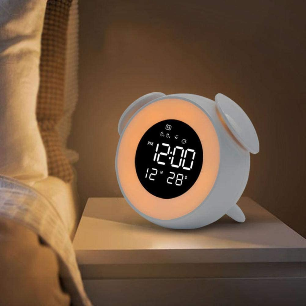 Design Carino Orologio da Tavolo a LED Digitale con Luce Notturna modalit/à Tramonto 25 suonerie Musicali per la Decorazione della Camera dei Bambini SOWLFE Sveglia Sveglia
