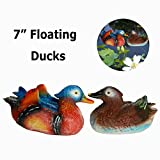 Duck Pool Floater Figurine Set Floating Ducks Artificial Resin Decoy Mandarin Duck Statues for Lawn Home Garden Decor Pool Pond Ornament Desk Shelf Table Art(Mandarin Duck B -7.1×6.7×4.3 inches)