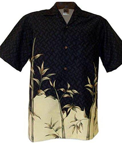 Hawaii 2-Tone Bamboo Aloha Shirt Black (L)