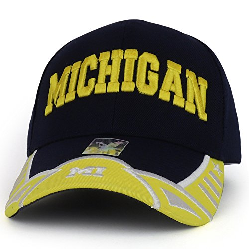 Michigan State Text 3D Embroidered Structured Baseball Cap - Navy Yellow ()