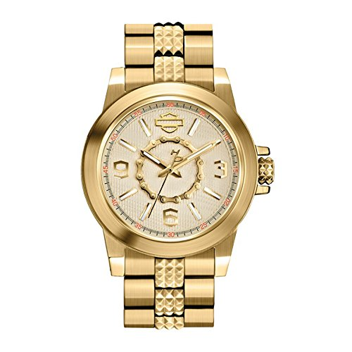 Harley-Davidson Women's Bulova Gold Tone Chain Wrist Watch 77L103