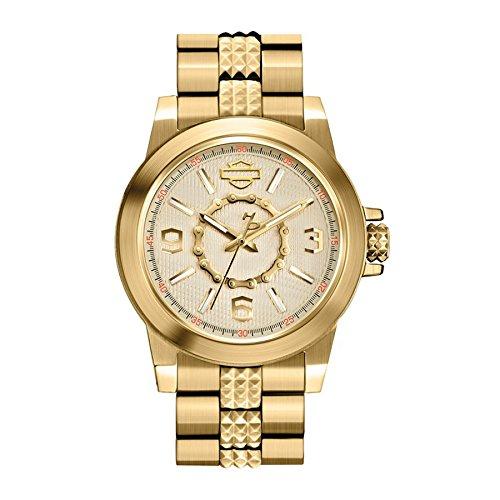 Harley-Davidson Women's Bulova Gold Tone Chain Wrist Watch 77L103
