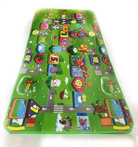 Giant Children's Play Mat 39.3 X 70.8 Inch With 4 Toy Cars. Thick Rug, Colorful Scenes. for Long Entertaining time