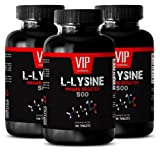 VIP VITAMINS Lean muscle diet - L-LYSINE IMMUNE BOOSTER 500 - Muscle growth supplements - 3 Bottles 300 tablets