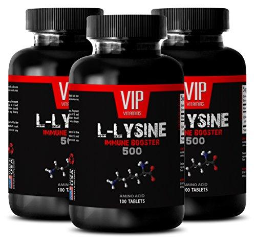 VIP VITAMINS Stamina booster supplements for men - L-LYSINE IMMUNE BOOSTER 500 - Men energy supplement - 3 Bottles 300 tablets by VIP VITAMINS
