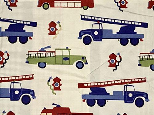 / Firetrucks Reversible 3-pc F/Q Duvet Set - ALL Cotton (fire trucks Nathan) ()
