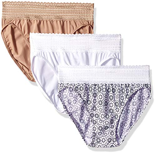 Warner's Women's No Pinching No Problems with Lace Hi-Cut 3 Pack Panties, Toasted Almond/White/Evening Blue Star Print, S