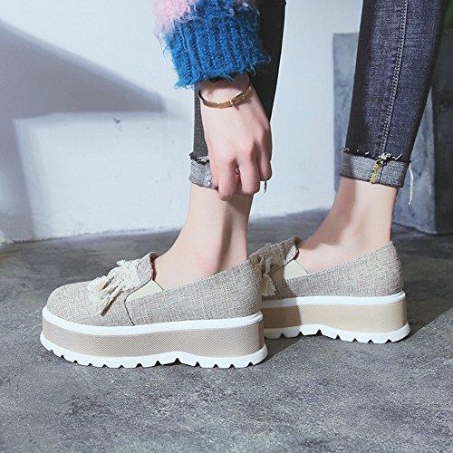Cybling Mode Platform Casual Sneakers Voor Dames Platte Kwast Dikke Zool Loafers Schoenen Grijs
