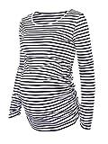 Jinson Women's Motherhood Maternity Tunic Tops Mama Clothes Flattering Side Ruching Long Sleeve Scoop Neck Pregnancy T-shirt