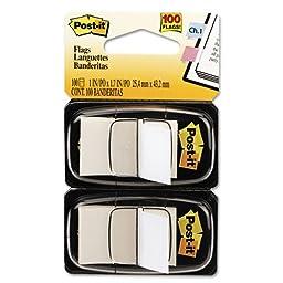 Standard Tape Flags in Dispenser, White, 100 Flags/Dispenser