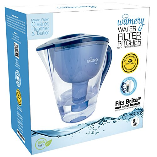 Amazon.com: Water Filter Pitcher 8 Cup With LED Indicator. Removes Tap Water  Lead, Chlorine And Metals. WQA U0026 BPA Free Certified Jug.
