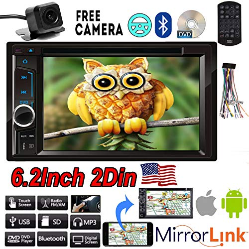 (For Ford Expedition 2002-2006 Car Audio Stereo Double Din 2DIN 6.2'' Mirror Link FM Radio Touchscreen Built-in Bluetooth with Free Remote Control & Wire Harness + Waterproof Rear View Backup Camera)