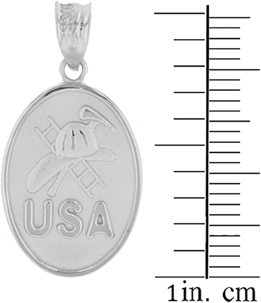 14k White Gold USA Firefighter Axe Helmet and Ladder Charm Fire Dept Necklace