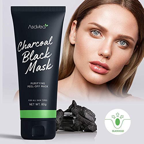 AsaVea Blackhead Peel Off Mask With Brush Black mask Blackhead Remover Mask Purifying Black Peel off
