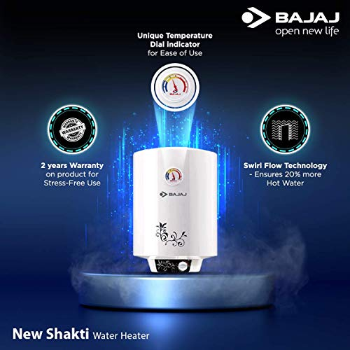 Bajaj New Shakti Storage 25 Litre Vertical Water Heater, White, 4 Star (43.3 x 44.1 x 57 cms) Discounts Junction