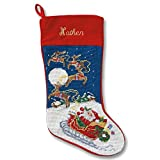 Lillian Vernon Sleigh and Reindeer Heirloom Personalized Needlepoint Christmas Stocking