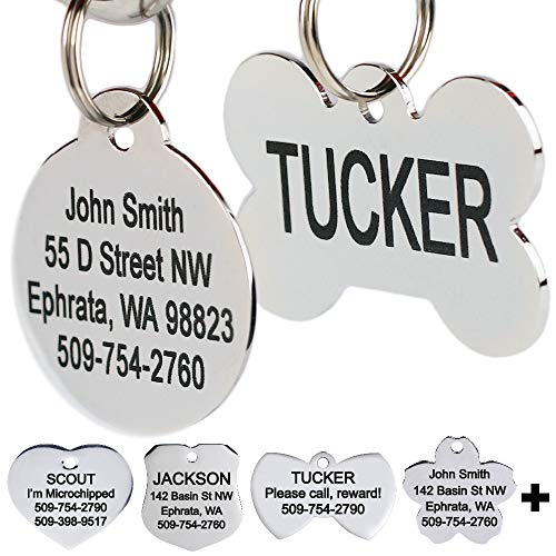 Stainless Steel Pet Id Tags, Personalized Dog Tags & Cat Tags. Up to 8 Lines of Text - Engraved Front & Back. Bone, Round, Heart, Flower, Shield, House, Star, Rectangle, Bow Tie.