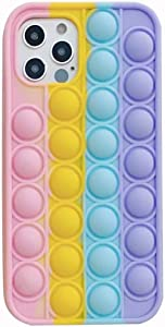 Simple Push Sensory Fidget Case for iPhone 7/8, Silicon Bubble Anxiety Stress Reliever Toys for Girls Boys Men Woman Adults, Simple Gifts for All Age (Rainbow Colors)