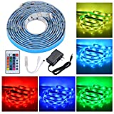 #9: PryEU LED Strip Lights RGB Color Changing Remote Control 2M Waterproof 5050 SMD with 12V Power Supply for Kitchen Cabinets Lounge TV Bed Room Ambient Lighting