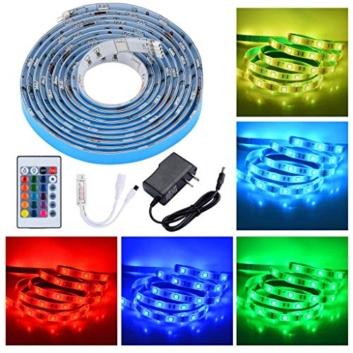 PryEU LED Strip Lights RGB Color Changing Remote Control 2M Waterproof 5050 SMD with 12V Power Supply for Kitchen Cabinets Lounge TV Bed Room Ambient Lighting