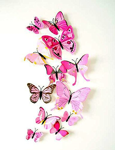 Romantiko 12 Pcs Fashion 3D Butterfly Decor Decal Wall Stickers Art Pink