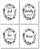 dining room wall art Dining Room Decor - Bless The Food Before Us Wall Art Prints - (Set of 4) - 8x10 - Unframed - Floral Wreaths